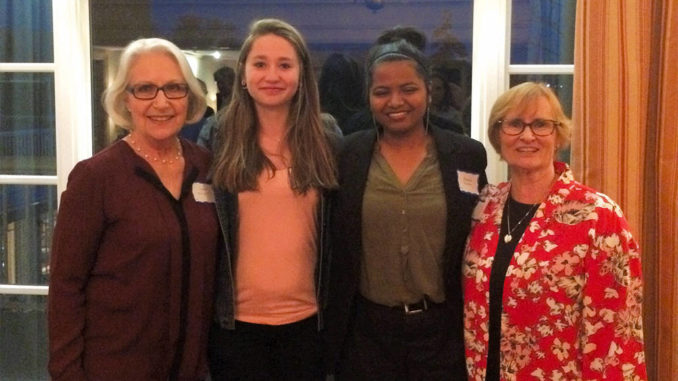 L-r: Lorna Wright, Scholarship Co-Convenor, Nicole Ilyin of LHS, Wasifa Noshin of EYCI and Maralynn Beach, Scholarship Co-Convenor.