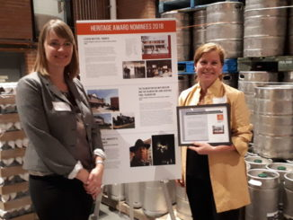 Connor and Kim, co-chairs of Leaside Matters, at ACO's 2018 Heritage Awards, held at the Junction Craft Brewery. Photo Geoff Kettel.