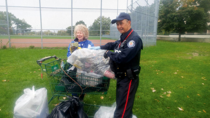 Cheryl and the TPS on clean-up duty. Photo Doug Harris.