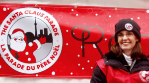 Jennifer helping to create the magic of the Santa Claus Parade.