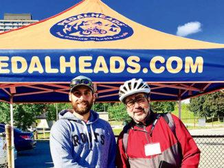 Organizers Matt Raponi of Pedalheads and Louis Fliss of Flemingdon Community Health. Photo Holly Reid.