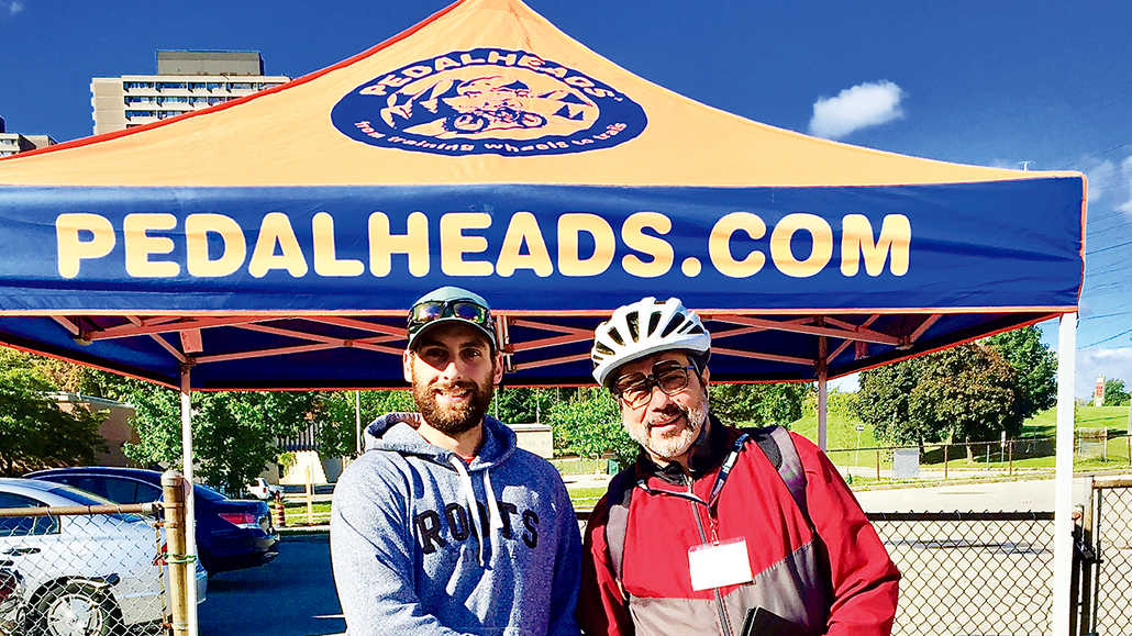 Organizers Matt Raponi of Pedalheads and Louis Fliss of Flemingdon Community Health. Photo Holly Reid.