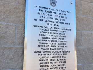 The memorial plaque at Leaside Gardens.