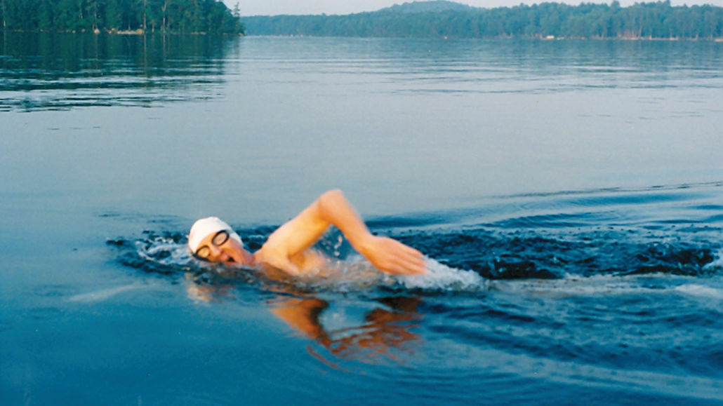 Lake Winnipesaukee, New Hampshire, 1993. Bob, 50, is the first person to swim the entire lake.