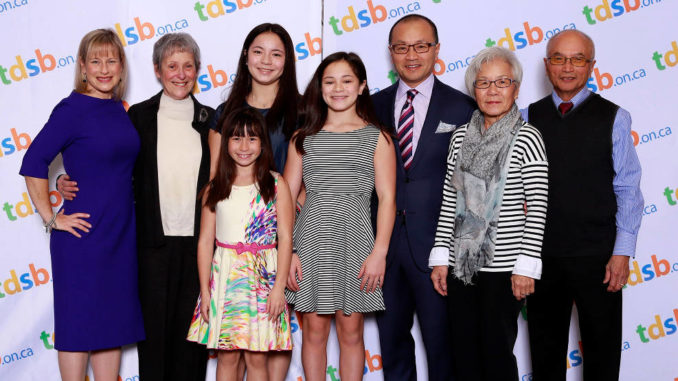 Rachel with her family at the TDSB swearing-in ceremony.