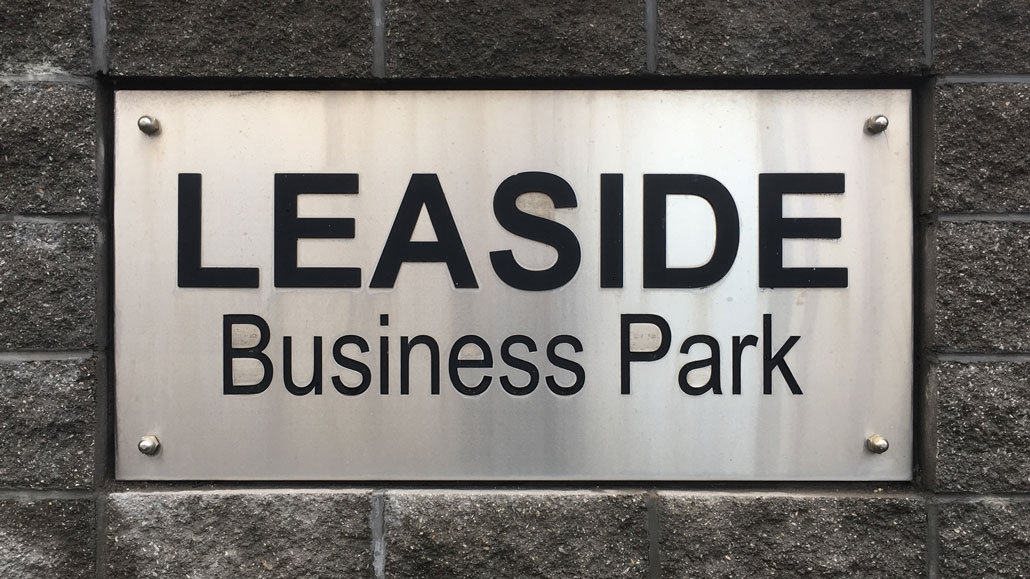 Leaside Business Park sign. Staff photo.