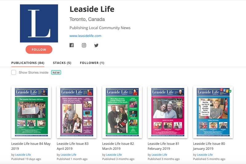 Past issues of Leaside Life can be found on Issuu.com.