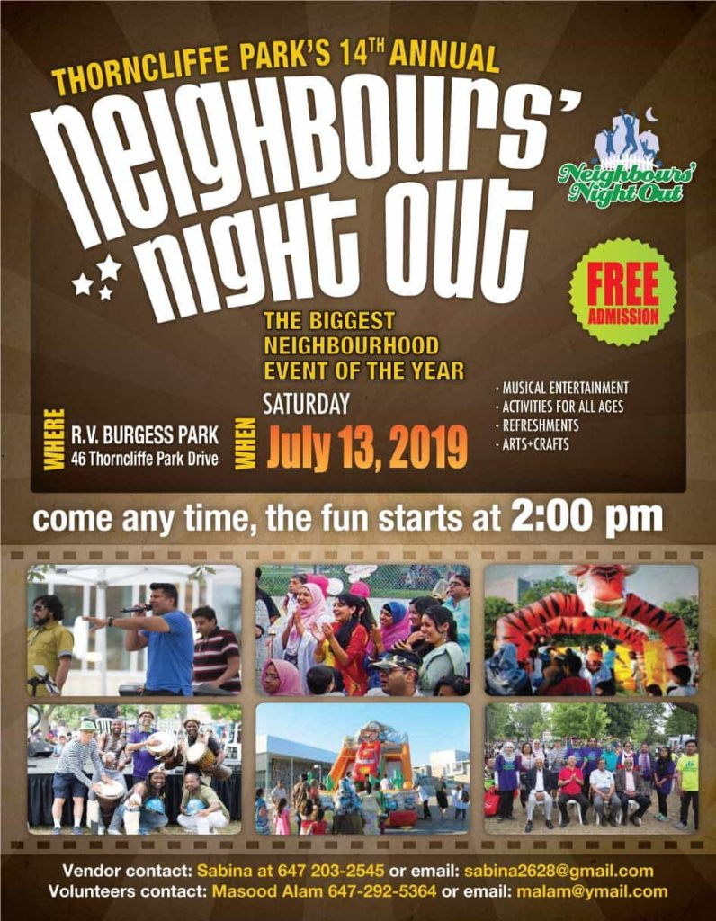 TNO Neighbours Night out poster 2019.