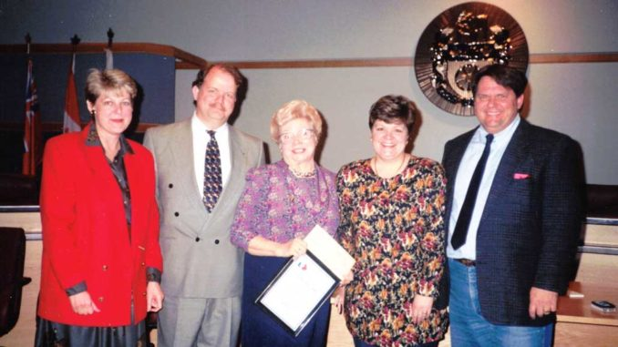 Edna (centre) and her family in 1994.