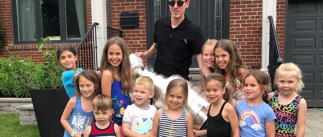 Jordan Binnington, the Stanley Cup-winning goalie for the 2019 St. Louis Blues, brought the legendary cup to Leaside this summer.