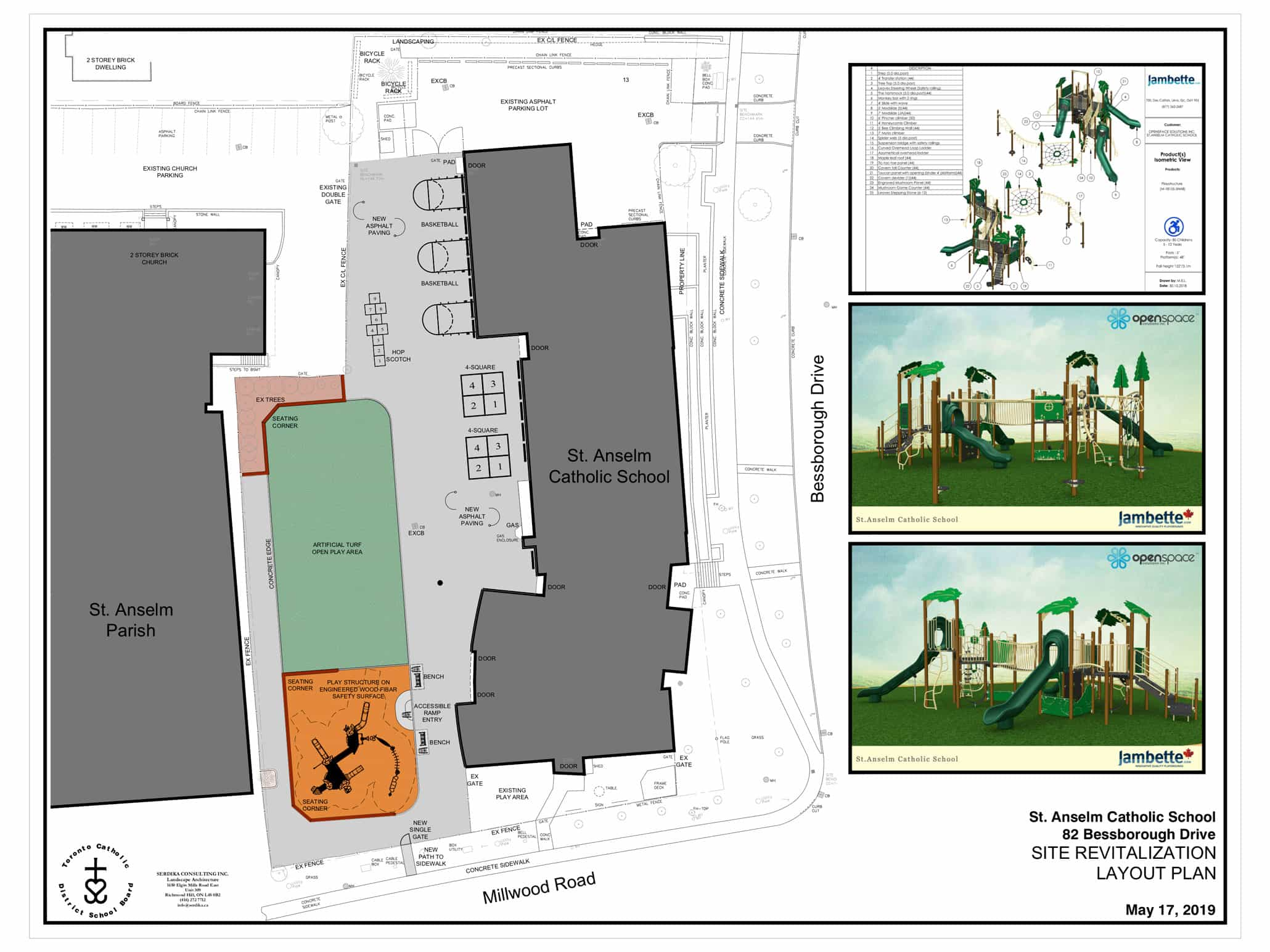 May 2019 layout of St. Anselm's new playground.