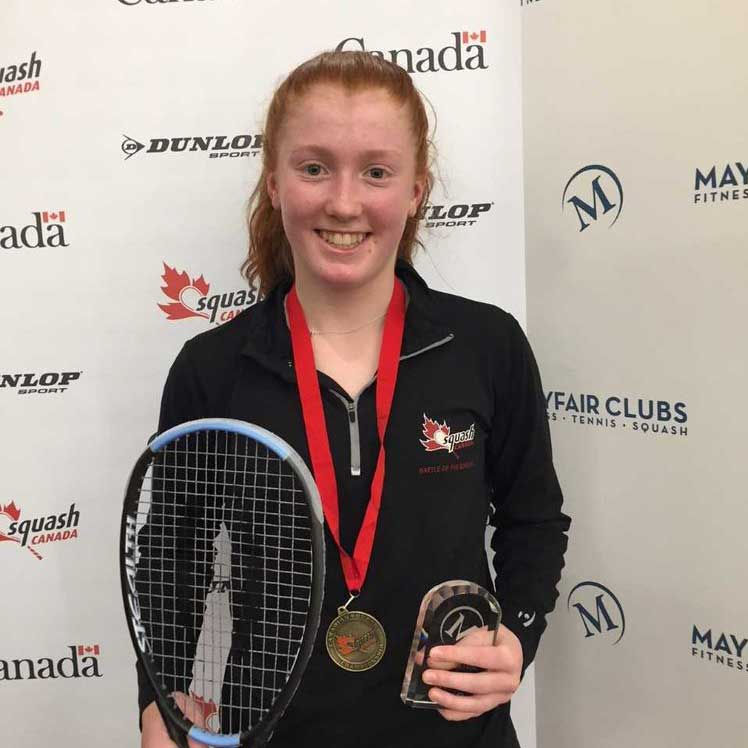 Molly after winning the Nationals in 2018. Photo Squash Canada.