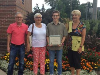 Josh Paull with members of the LGS Scholarship selection committee (Photo courtesy of Nora Campbell).
