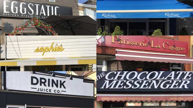 A collage of some of the brunch spots in Leaside.