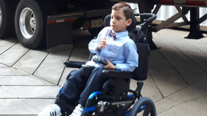 Gabriel, age 7, had cerebral palsy from birth.