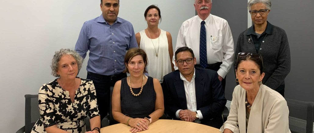 The new board: Standing l-r: Navin Katyal, Donna Howard, Treasurer John Masterson, Chair of the Operations & Community Relations Committee Janice Ivory-Smith. Seated, l-r: Jennifer Smith, Karen Pugliese, Vice-Chair Glenn Asano, Chair Kathleen Mackenzie; Absent: Chris Forbell, City Councillor Jaye Robinson. Photo: Leaside Memorial Community Gardens.