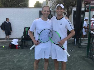 Glen (left) with his doubles partner Jason Christie. Photo Jibran Mohammadi.