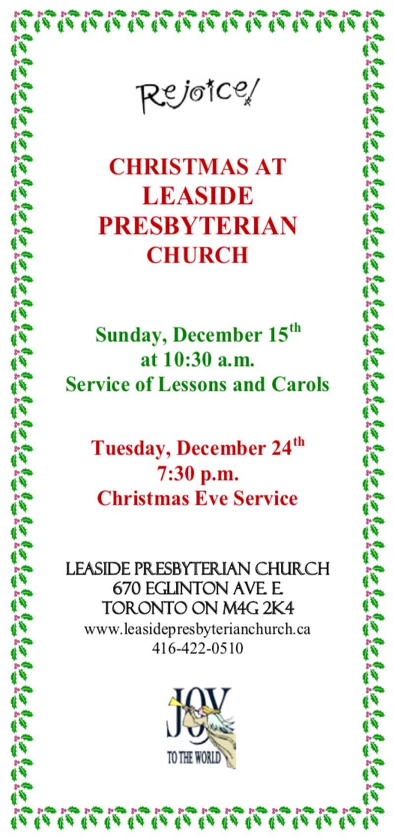 Leaside Presbyterian December Events