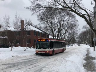 A snowy driving day in Leaside. Staff photo.