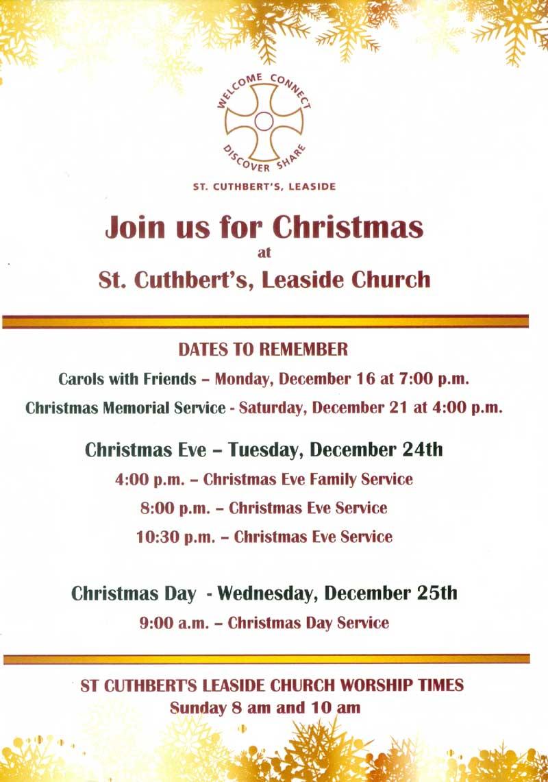 St. Cuthbert's Christmas Services