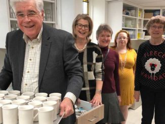 Volunteers working in the new kitchen: Dick Cowan, Anne Raby, Inga Theberge, Wendy Turley and Dorothy Cowan. Photo Janis Fertuck.
