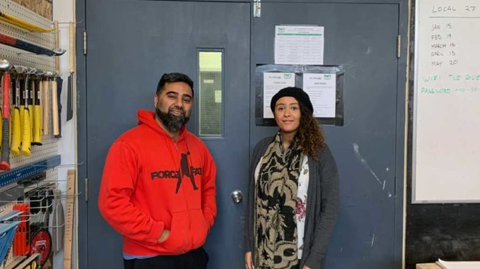 Aamir Sukhera, Trades Centre site supervisor and coordinator and Shukria Dualeh, case and outreach worker.