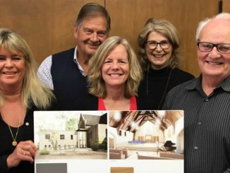 The renovation team: (l-r) Architect Michael Nicholas- Schmidt, Brenda French, Jim Miller, Ann Fraser, Anne Raby, Graham Lute, site lead Ryan Gerber.