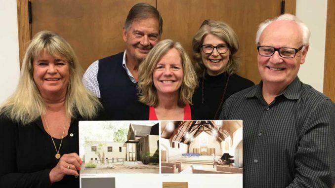 The renovation team: (l-r) Architect Michael Nicholas- Schmidt, Brenda French, Jim Miller, Ann Fraser, Anne Raby, Graham Lute, site lead Ryan Gerber.
