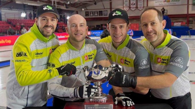 Team Epping L-R, Epping, Ryan Fry, Matt Camm, and Brent Laing with the 2019 Canada Cup. Photo Michael Burns.