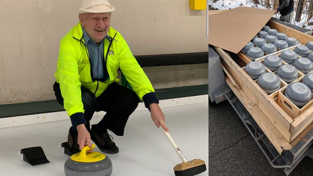 Left, Bruce Cook, 74, Leaside Curling Club's last remaining active founding member, throws out a ceremonial first rock of the Club's brand new set of rocks. Bruce has been curling at Leaside since he was 18 years old. Right, the new rocks arrive at Leaside Curling Club.