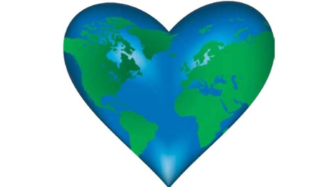 The earth as a green and blue heart