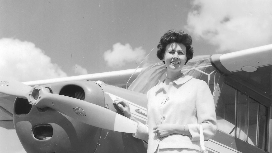 Shirley Macdougall with her Tri-Champ plane.