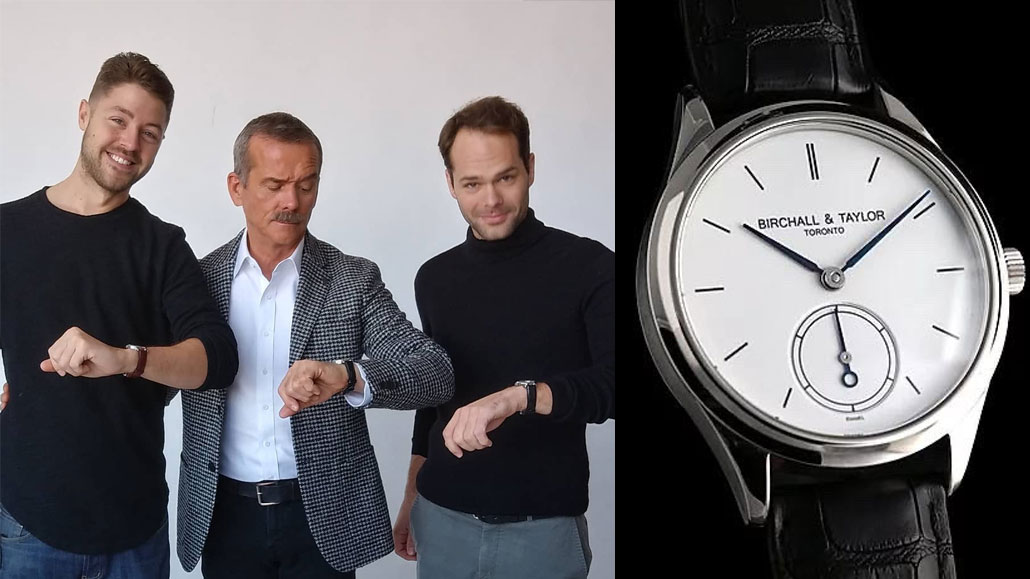 Leaside luxury watchmakers Brad Taylor (left) and Charles Birchall (right), with Chris Hadfield. Right, a Birchall & Taylor Reference 1R watch.