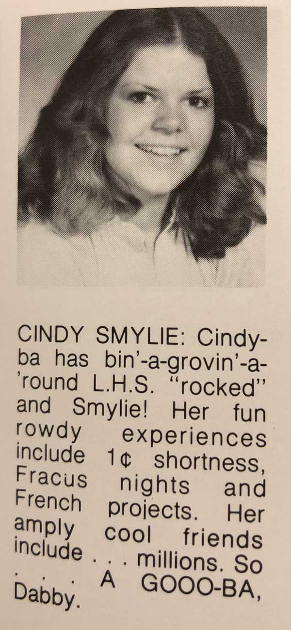 "Cindy in the Leaside High Yearbook, ""Clan Call"""