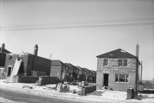 House construcation Broadway between Hanna and Tanager, 1949, Salmon Collection.