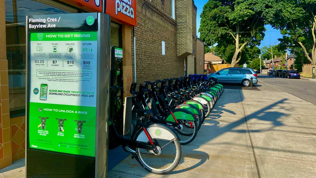 A Bike Share station at Fleming Crescent and Bayview Avenue. Photo by Holly Reid.