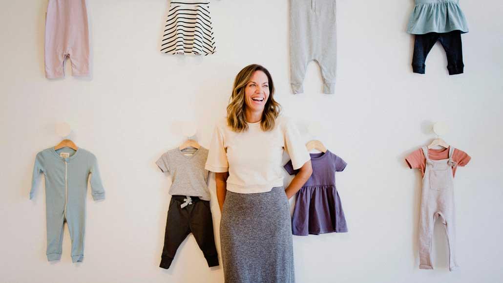 Alyssa Kerbel with her children's clothing brand mini mioche. Photo by KIERAN DARCY.