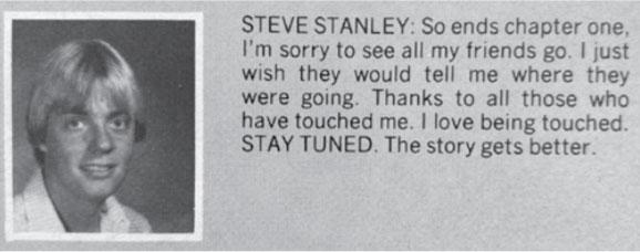 Steve Stanley's yearbook entry.