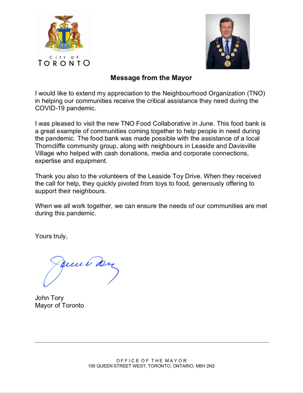 Mayor Tory congratulatory letter for the TNO Food Bank.