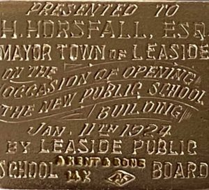 Gold pendant presented to Herbert Horsfall, Former Mayor of the Town of Leaside, on the occasion of opening the new public school in 1924. Photo by Storey Wilkins.