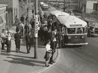 Buses at Research Enterprises Ltd., Leaside June 10, 1943 Fonds 16, Series 71, Item 14442J.