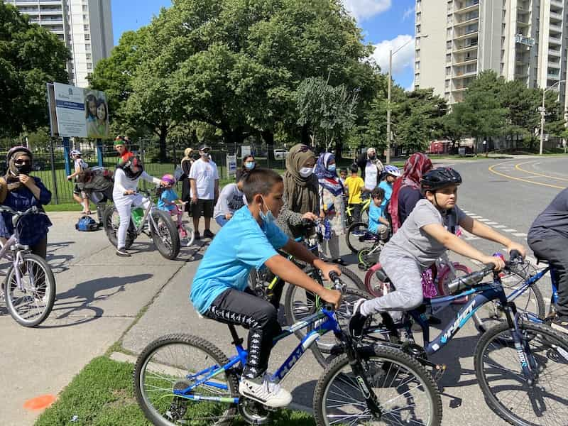 All ages and abilities out to ride in the Tour de Thorncliffe. Photo credit: Holly Reid.