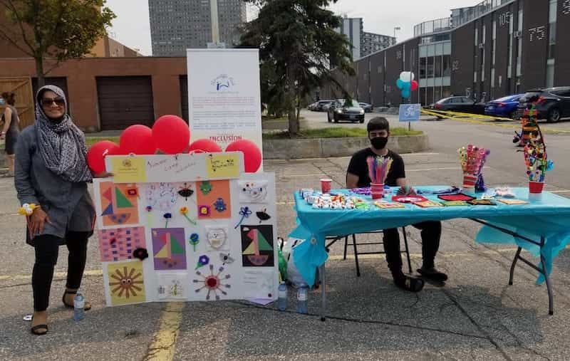 Thorncliffe Park Autism Support Network shows off kids' crafts.