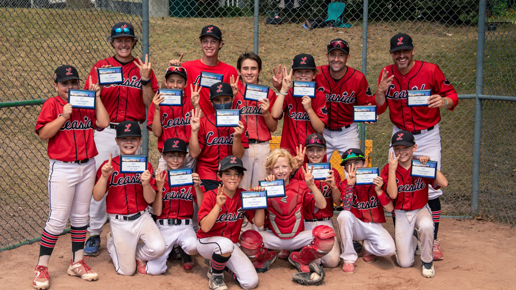Photo of The 2021 Leaside 11U AA baseball team, led by coaches Dan Cohen, Jeff Freeborough, Sean Ross, Benji Litz and team manager, Anne Guilfoyle took home their third straight TBA City Championship. Photo taken by Lauren Morgan.