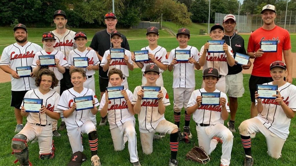 Photo of The Leaside 12U AAA baseball team, led by coaches Shady Ashamalla, Trevor Lawson, Lee Mosbaugh, Anthony Hammill and team manager Mike Applebaum brought home the TBA City Championship. Photo taken by Anthony Hamill.