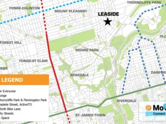 Image of Move365 Connect's plan for three new major bike routes throughout Toronto. Photo taken by Evan Brazeau.