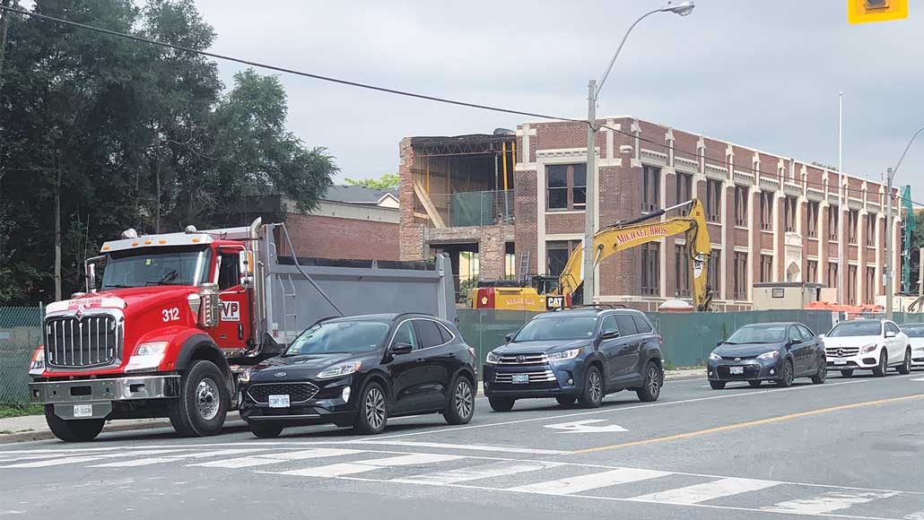 Image of the construction site at 146-150 Laird Dr. Photo taken by Robin Dickie.
