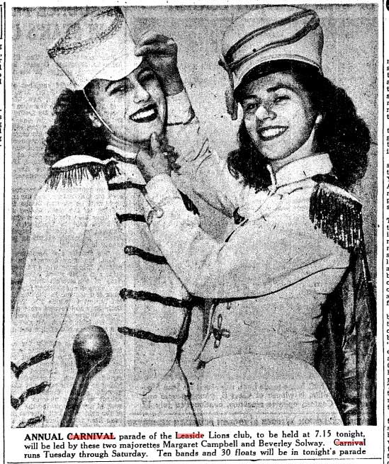 Photo of two Leaside Lions club majorettes Margaret Campbell and Beverley Solway.