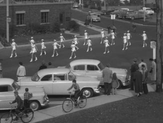 Picture of Leaside Fire Prevention Week parade, 1955. Photo taken by Toronto Public Library.