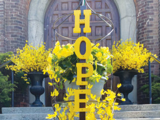 The planter in front of St. Cuthbert's Church. Photo by Kathi Davies.